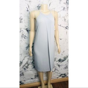 Bar ||| Wrap Style Midi Dress Blue/Grey NEW